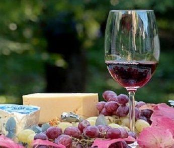 Bicchiere di vino rosso e formaggi stagionati