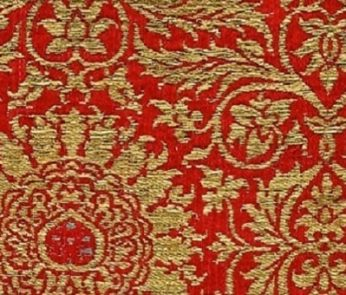 tessuto con rosette rosse