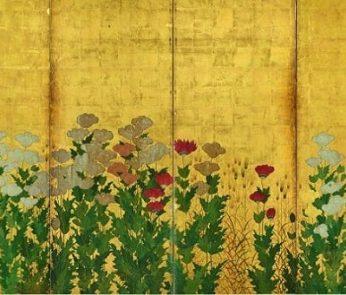 Spighe di grano e papaveri di Kano Shigenobu