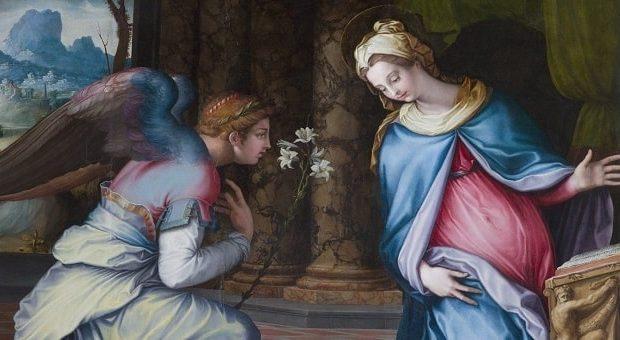 particolare del dipinto Annunciazione di Francesco Salviati