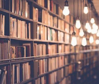 corridoio di una biblioteca ricca di libri