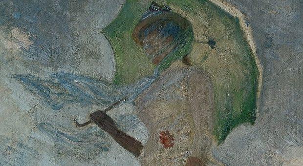 olio su tela Donna con parasole di Claude Monet