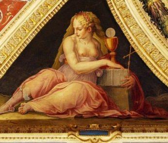 particolare degli affreschi di Palazzo Vecchio a Firenze