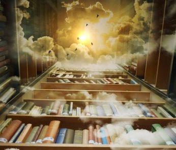 Libreria con cielo e nuvole