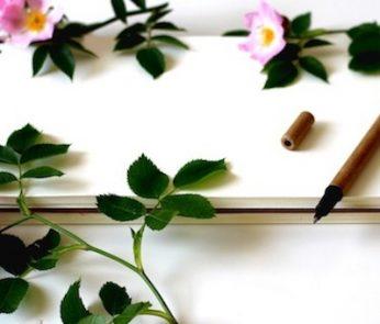 notebook e fiori